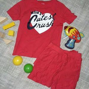OshKosh Red Top Size 4T & Matching Pants Size 3T